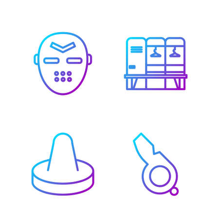 Set line Whistle, Mallet for playing air hockey, Hockey mask and Locker or changing room. Gradient color icons. Vector