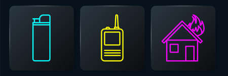 Set line Lighter, Fire in burning house and Walkie talkie. Black square button. Vector