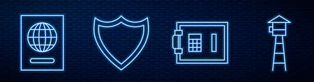 Set line Safe, Passport, Shield and Watch tower. Glowing neon icon on brick wall. Vector