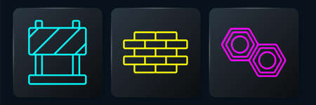 Set line Road barrier, Hexagonal metal nut and Bricks. Black square button. Vector