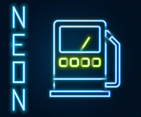 Glowing neon line Petrol or gas station icon isolated on black background. Car fuel symbol. Gasoline pump. Colorful outline concept. Vector Illustration