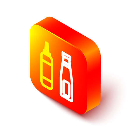 Isometric line Sauce bottle icon isolated on white background. Ketchup, mustard and mayonnaise bottles with sauce for fast food. Orange square button. Vector Illustration Ilustración de vector