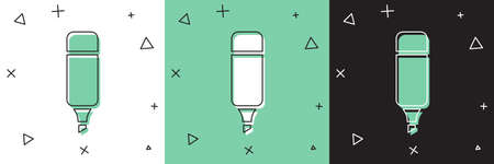Set Marker pen icon isolated on white and green, black background. Vector Illustration