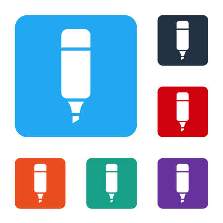 White Marker pen icon isolated on white background. Set icons in color square buttons. Vector Illustration