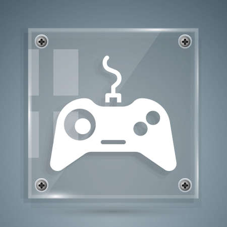 White Gamepad icon isolated on grey background. Game controller. Square glass panels. Vector Illustration