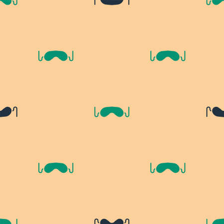Green and black Eye sleep mask icon isolated seamless pattern on beige background. Vector Illustration