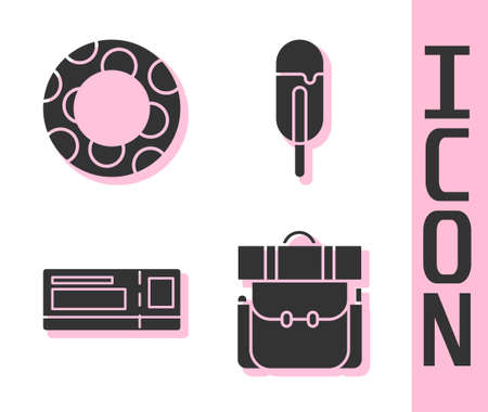 Set Hiking backpack, Rubber swimming ring, Travel ticket and Ice cream icon. Vector