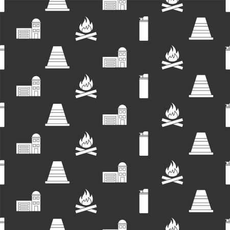 Set Lighter, Traffic cone, Building of fire station and Campfire on seamless pattern. Vector