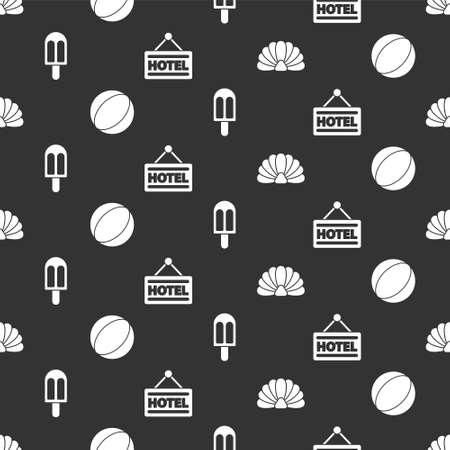 Set Scallop sea shell, Beach ball, Ice cream and Signboard with text Hotel on seamless pattern. Vector