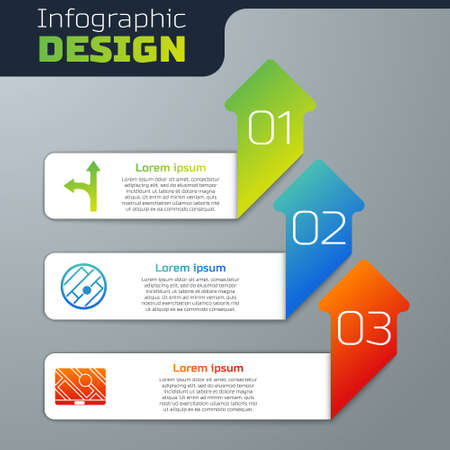 Set Road traffic sign, Folded map with location and City map navigation. Business infographic template. Vector 向量圖像