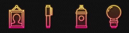 Set line Paint spray can, Picture, Pen and Light bulb. Glowing neon icon. Vector Ilustración de vector