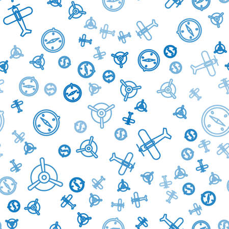 Set line Plane propeller, Plane and Compass on seamless pattern. Vector