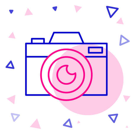 Line Photo camera icon isolated on white background. Foto camera icon. Colorful outline concept. Vector Illustration