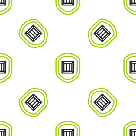Line Delivery security with shield icon isolated seamless pattern on white background. Delivery insurance. Insured cardboard boxes beyond the shield. Vector Illustration