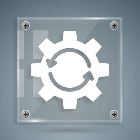 White Gear and arrows as workflow concept icon isolated on grey background. Gear reload sign. Square glass panels. Vector Illustration