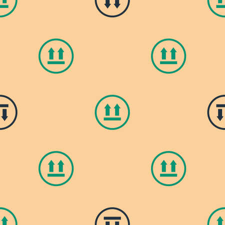 Green and black This side up icon isolated seamless pattern on beige background. Two arrows indicating top side of packaging. Cargo handled. Vector Illustration
