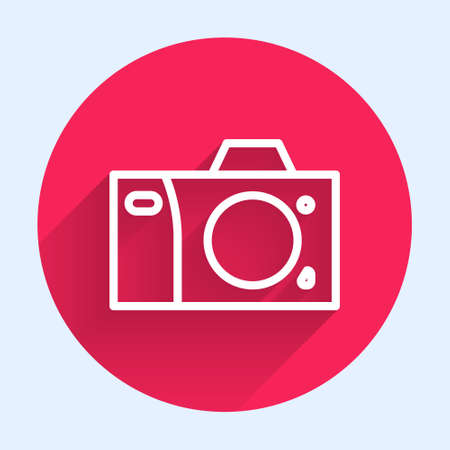White line Photo camera icon isolated with long shadow. Foto camera icon. Red circle button. Vector Illustration Иллюстрация