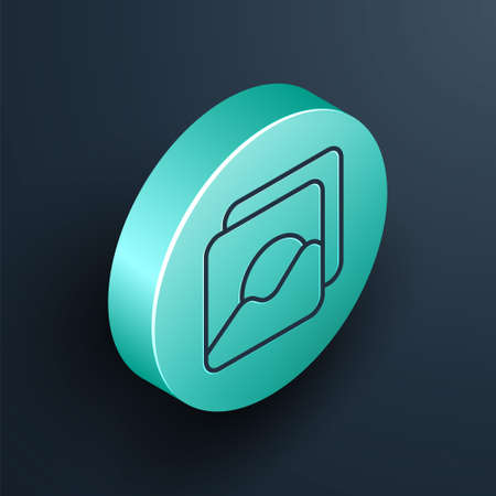 Isometric line Photo icon isolated on black background. Turquoise circle button. Vector Illustration