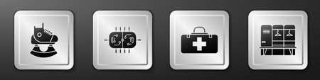 Set Skates, Hockey table, First aid kit and Locker or changing room icon. Silver square button. Vector