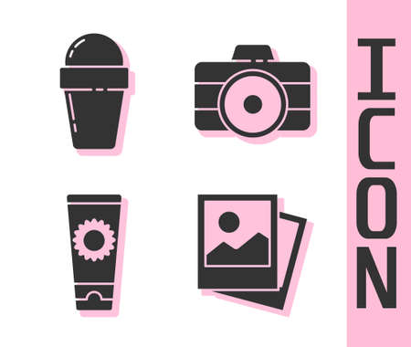 Set Photo, Ice cream in waffle cone, Sunscreen cream in tube and Photo camera icon. Vector