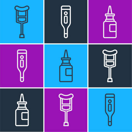 Set line Crutch or crutches, Bottle nasal spray and Medical digital thermometer icon. Vector