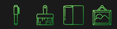 Set line Paper towel roll, Pen, Paint brush and Picture landscape. Gradient color icons. Vector