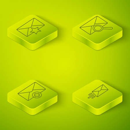 Set Isometric Envelope with magnifying glass, Received message concept, Express envelope and Envelope with star icon. Vector  イラスト・ベクター素材
