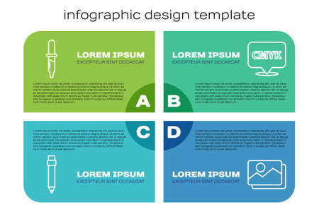 Set line Pencil with eraser, Pipette, Picture landscape and Speech bubble with text CMYK. Business infographic template. Vector