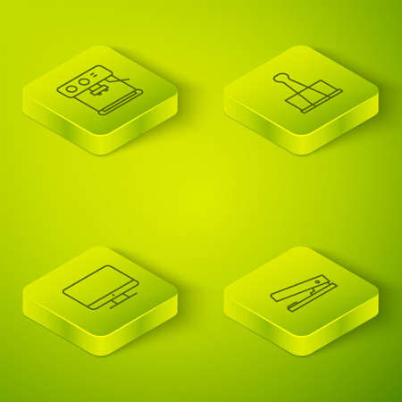Set Isometric Binder clip, Computer monitor screen, Office stapler and Coffee machine icon. Vector