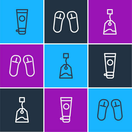 Set line Cream or lotion cosmetic tube, Tea bag and Slipper icon. Vector