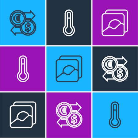 Set line Money exchange, Photo and Meteorology thermometer icon. Vector Иллюстрация