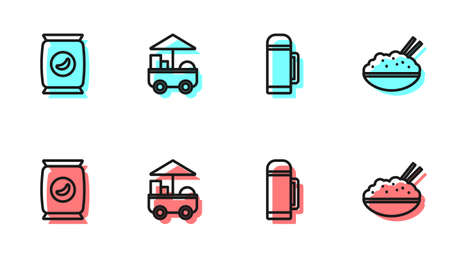 Set line Thermos container, Bag or packet potato chips, Fast street food cart and Rice bowl with chopstick icon. Vector