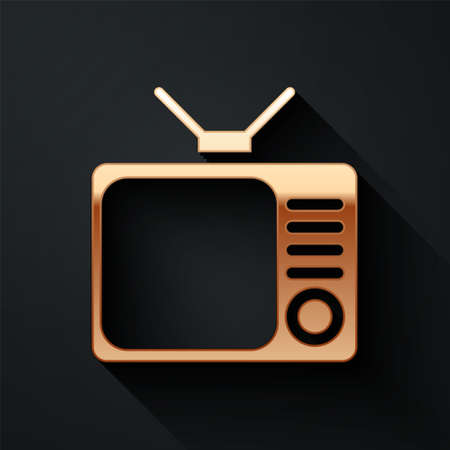 Gold Retro tv icon isolated on black background. Television sign. Long shadow style. Vector Illustration