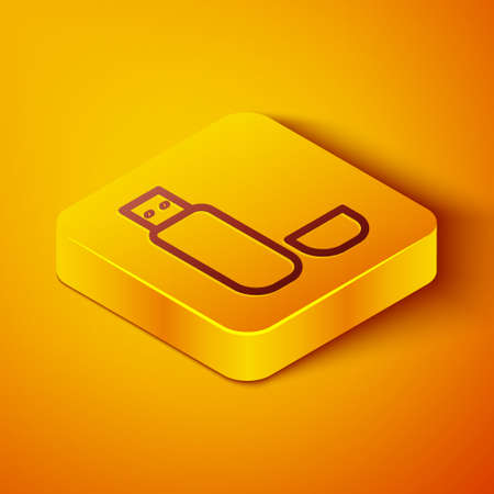 Isometric line USB flash drive icon isolated on orange background. Yellow square button. Vector Illustration