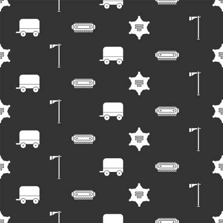 Set Hexagram sheriff, Tomahawk axe, Wild west covered wagon and Harmonica on seamless pattern. Vector  イラスト・ベクター素材