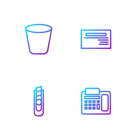 Set line Telephone, Stationery knife, Trash can and Business card. Gradient color icons. Vector