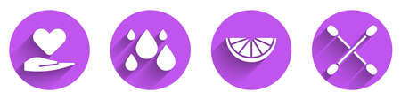 Set Heart on hand, Water drop, Citrus fruit and Cotton swab for ears icon with long shadow. Vector