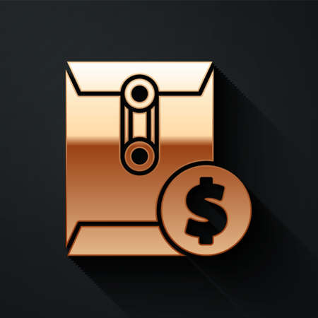 Gold Envelope with coin dollar symbol icon isolated on black background. Salary increase, money payroll, compensation income. Long shadow style. Vector Illustration
