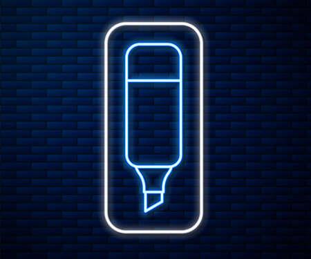 Glowing neon line Marker pen icon isolated on brick wall background. Vector Illustration Illusztráció