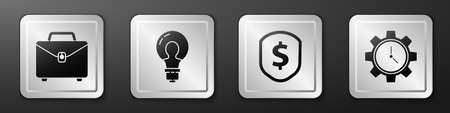 Set Briefcase, Light bulb with concept of idea, Shield with dollar and Time Management icon. Silver square button. Vector