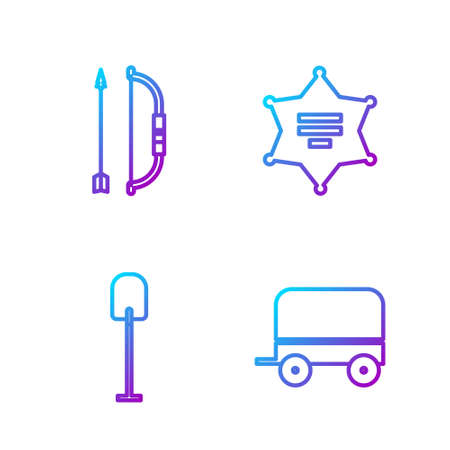 Set line Wild west covered wagon, Shovel, Bow and arrow in quiver and Hexagram sheriff. Gradient color icons. Vector