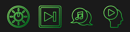 Set line Musical note in speech bubble, Dial knob level technology settings, Fast forward and Head people with play button. Gradient color icons. Vector
