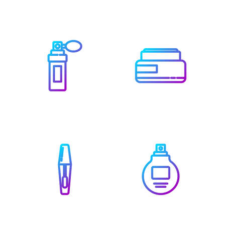 Set line Perfume, Mascara brush, and Cream or lotion cosmetic tube. Gradient color icons. Vector