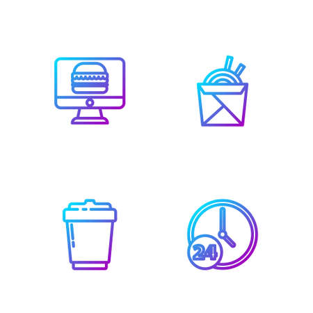 Set line Clock 24 hours, Coffee cup to go, Online ordering and delivery and Asian noodles chopsticks. Gradient color icons. Vector
