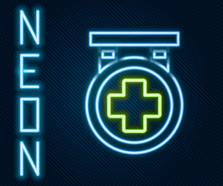 Glowing neon line Hospital signboard icon isolated on black background. Colorful outline concept. Vector Illustration Illusztráció