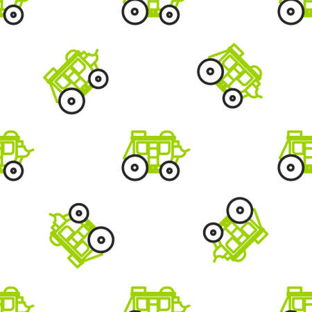Line Western stagecoach icon isolated seamless pattern on white background. Vector Illustration