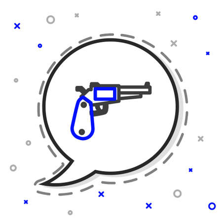 Line Revolver gun icon isolated on white background. Colorful outline concept. Vector Illustration