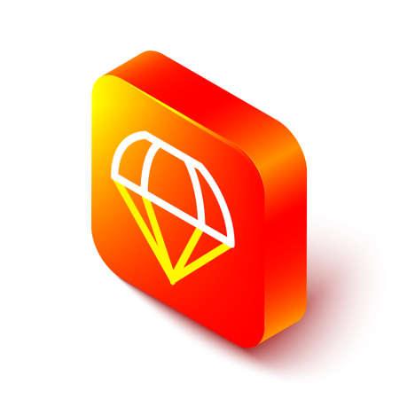 Isometric line Parachute icon isolated on white background. Orange square button. Vector Illustration