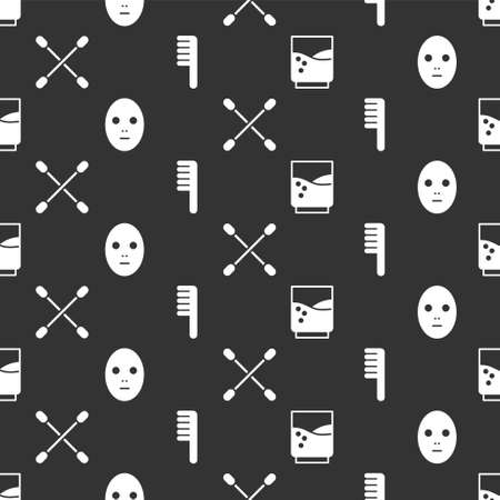 Set Glass with water, Facial cosmetic mask, Cotton swab for ears and Hairbrush on seamless pattern. Vector