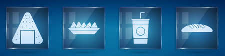 Set Onigiri, Nachos in plate, Paper glass with straw and Bread loaf. Square glass panels. Vector